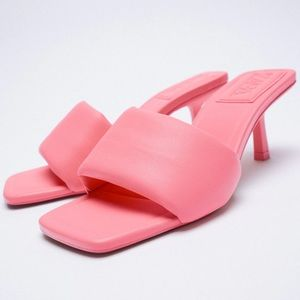 Zara PADDED KITTEN HEELED SANDALS SLIP ON PINK NEW